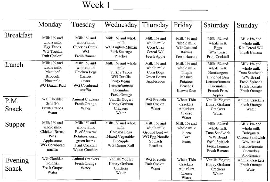 Week 1 Menu at Magic Kingdom Learning Center