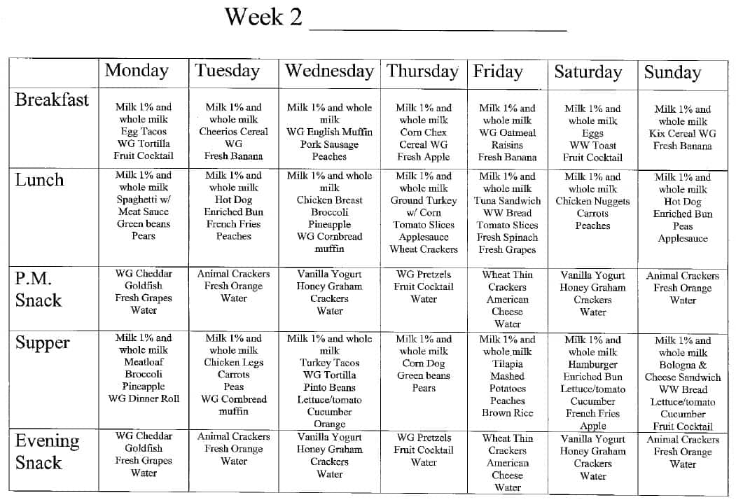 Week 2 Menu at Magic Kingdom Learning Center