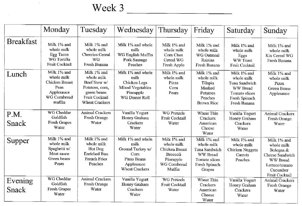 Week 3 Menu at Magic Kingdom Learning Center